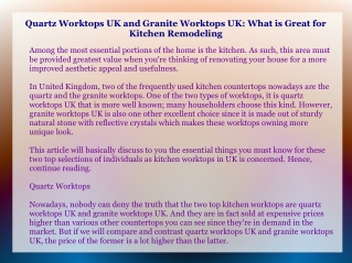 Quartz Worktops UK and Granite Worktops UK: What is Great fo