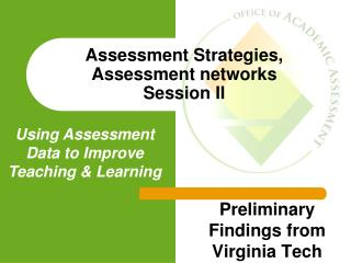 Assessment Strategies, Assessment networks  Session II