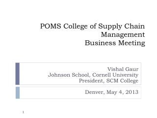 POMS College of Supply Chain Management Business Meeting