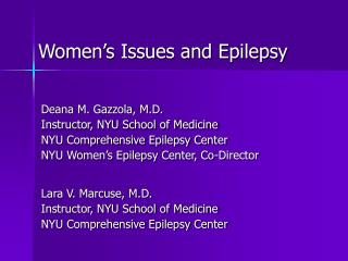 Women s Issues and Epilepsy