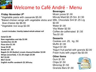 Welcome to Caf  Andr  - Menu