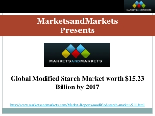 Global Modified Starch Market worth $15.23 Billion by 2017