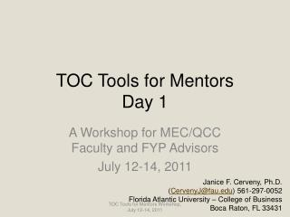 TOC Tools for Mentors Day 1