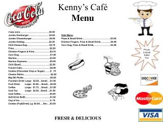 Kenny s Caf  Menu