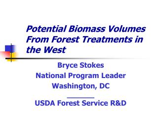 Potential Biomass Volumes From Forest Treatments in the West