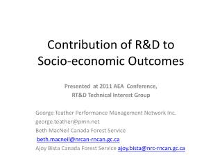 Contribution of RD to  Socio-economic Outcomes