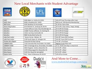 New Local Merchants with Student Advantage