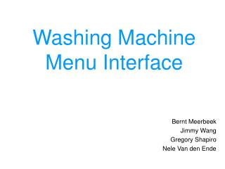 Washing Machine  Menu Interface