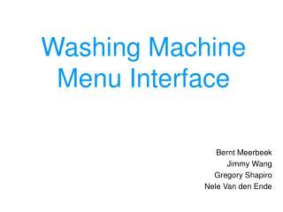 Washing Machine  Menu Interface