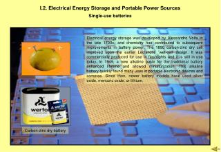 I.2. Electrical Energy Storage and Portable Power Sources