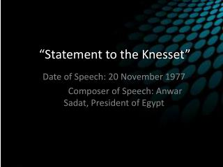 Statement to the Knesset