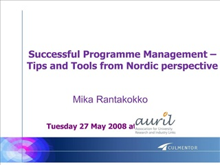 successful programme management   tips and tools from nordic perspective