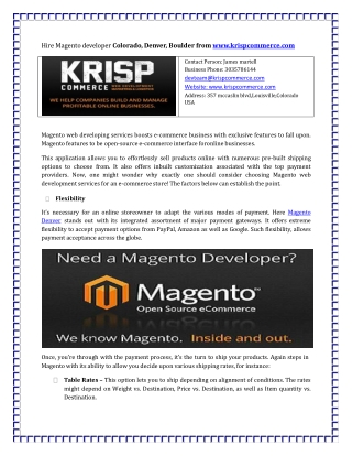 Hire Magento developer Colorado, Denver, Boulder from www.kr