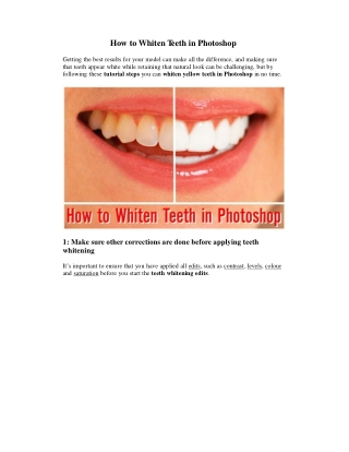 How to Whiten Yellow Teeth in Photoshop?