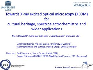 Towards X-ray excited optical microscopy XEOM for  cultural heritage, spectroelectrochemistry, and wider applications