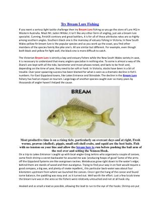 Try Bream Lure Fishing
