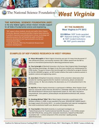 BY THE NUMBERS  West Virginia in FY 2011   12.7 Million: NSF funds awarded 7: NSF-funded institutions 46: NSF grants awa