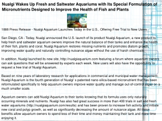 Nualgi Wakes Up Fresh and Saltwater Aquariums with Its Speci