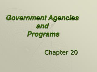 Government Agencies and  Programs