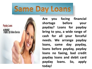 Sameday Payday Loans with Fast Approval