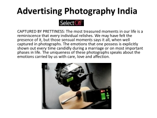 Advertising photography India