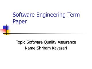 Software Engineering Term Paper
