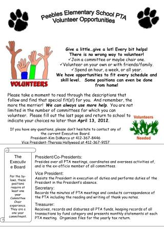 Peebles Elementary School PTA Volunteer Opportunities