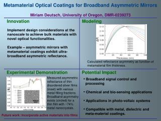 Metamaterial Optical Coatings for Broadband Asymmetric Mirrors Miriam Deutsch, University of Oregon, DMR-0239273