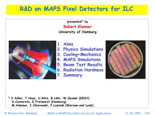 RD on MAPS Pixel Detectors for ILC