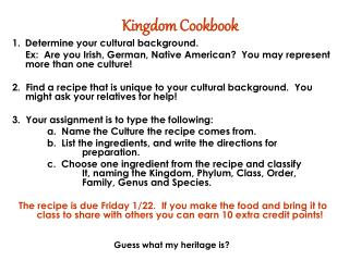 Kingdom Cookbook