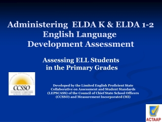 administering  elda k  elda 1-2 english language  development assessment