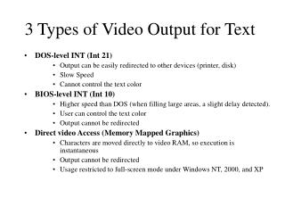 3 Types of Video Output for Text