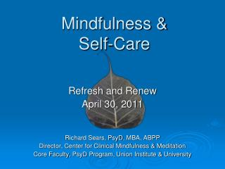 Mindfulness  Self-Care