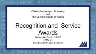 Christopher Newport University and The Commonwealth of Virginia