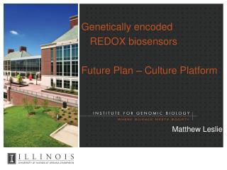 Genetically encoded   REDOX biosensors  Future Plan   Culture Platform         Matthew Leslie