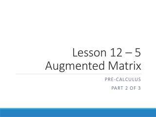 Pre Calculus Lesson 2.3