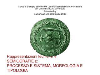 Rappresentazioni tecniche 4 SEMIOGRAFIE 2:  PROCESSO E SISTEMA, MORFOLOGIA E TIPOLOGIA