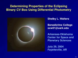 Determining Properties of the Eclipsing Binary CV Boo Using Differential Photometry