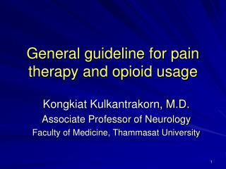 general guideline for pain therapy and opioid usage