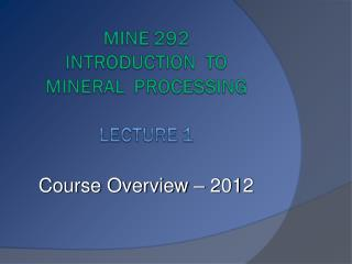 Course Overview   2012