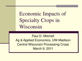 Economic Impacts of Specialty Crops in Wisconsin
