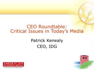 CEO Roundtable:  Critical Issues in Today s Media