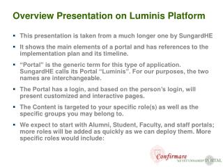 Overview Presentation on Luminis Platform