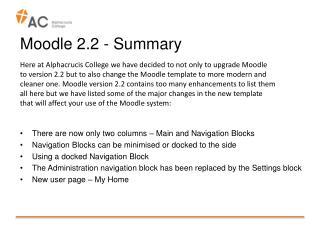 Moodle 2.2 - Summary
