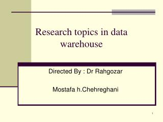 Research topics in data warehouse