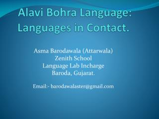 Alavi Bohra Language: Languages in Contact.