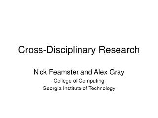 Cross-Disciplinary Research