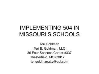 implementing 504 in missouri s schools