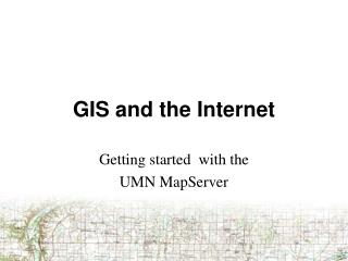 GIS and the Internet