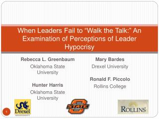 When Leaders Fail to  Walk the Talk:  An Examination of Perceptions of Leader Hypocrisy